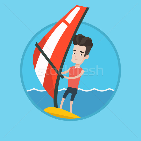 Fiatalember windszörf tenger kaukázusi tábla vitorla Stock fotó © RAStudio
