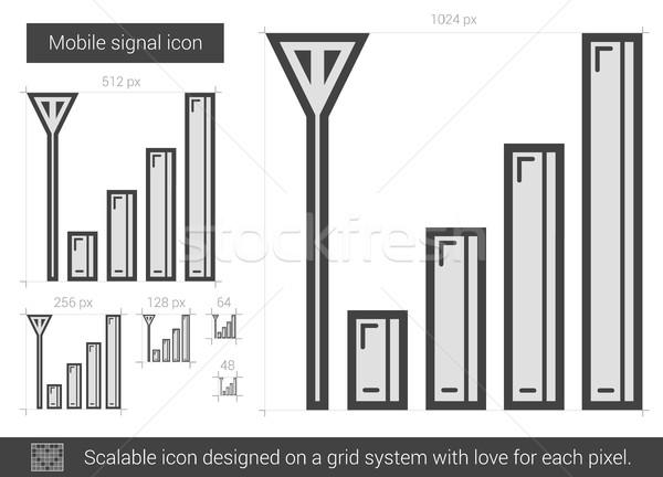мобильных сигнала линия икона вектора изолированный Сток-фото © RAStudio