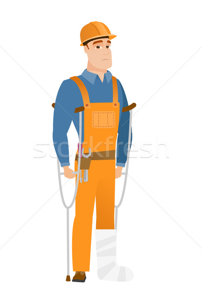 Injured builder with broken leg. Stock photo © RAStudio