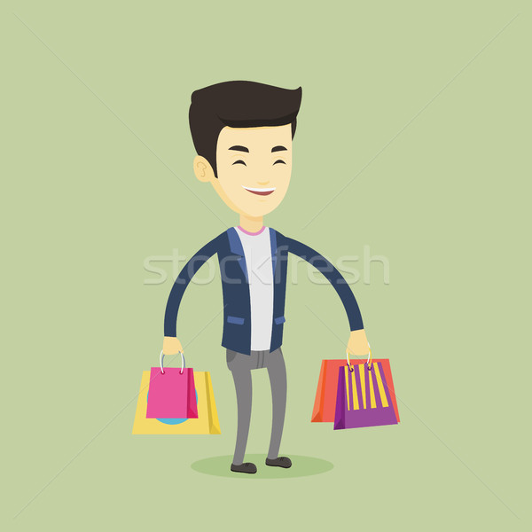 Happy man with shopping bags vector illustration Stock photo © RAStudio