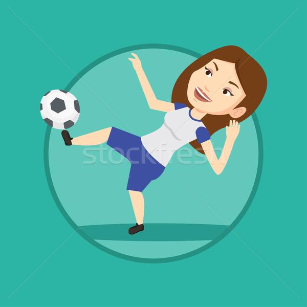 Labdarúgó rúg labda kaukázusi játék zsonglőrködés Stock fotó © RAStudio
