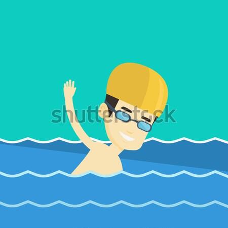 Homem natação asiático boné Foto stock © RAStudio