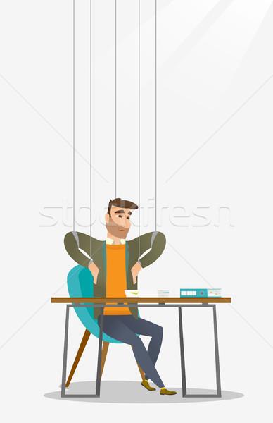 üzletember marionett kötelek dolgozik kaukázusi akasztás Stock fotó © RAStudio
