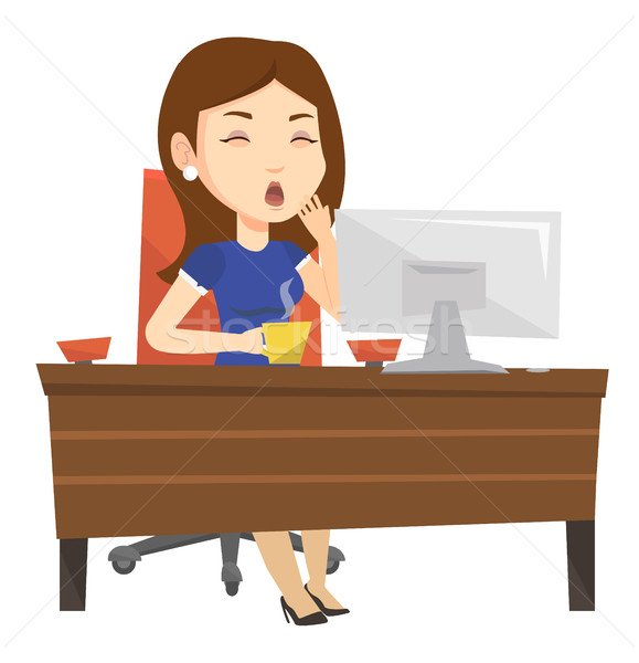 Tired employee working in office. Stock photo © RAStudio