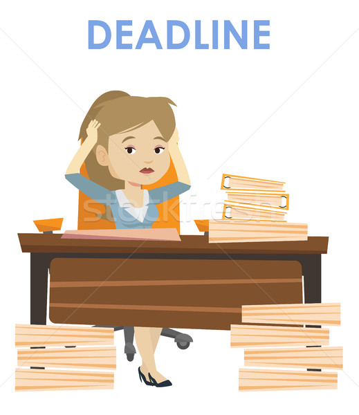 Stock photo: Business woman having problem with deadline.