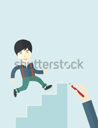 Business woman running up the career ladder. Stock photo © RAStudio