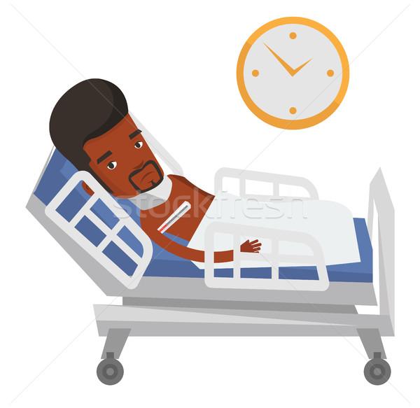 Malade homme température thermomètre africaine Photo stock © RAStudio