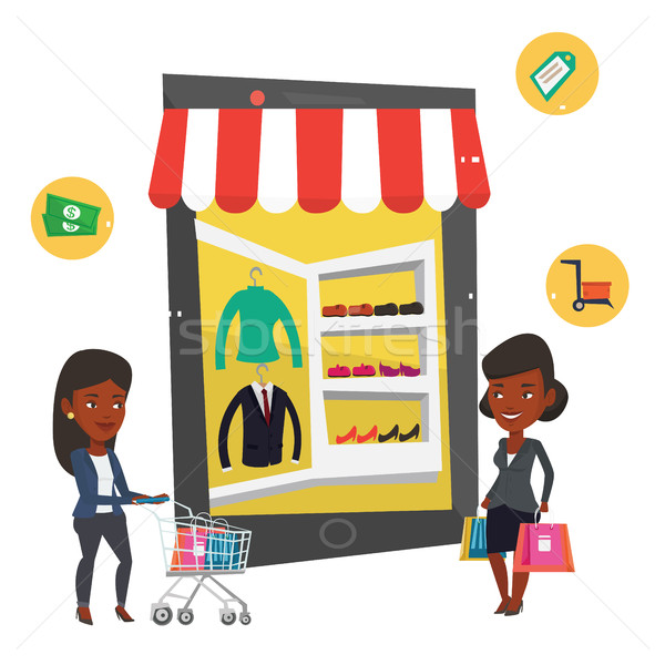 Stock photo: African women using mobile shopping.