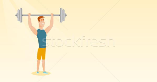 человека штанга кавказский веса Сток-фото © RAStudio