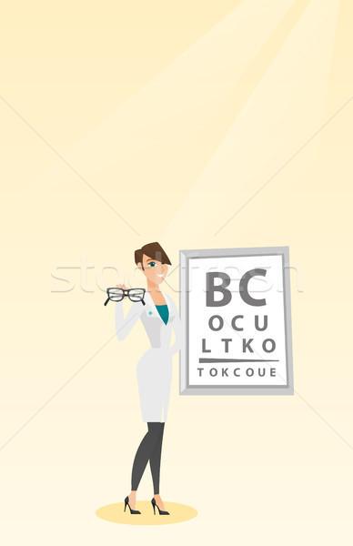 Profesyonel göz doktoru gözlük kafkas doktor Stok fotoğraf © RAStudio