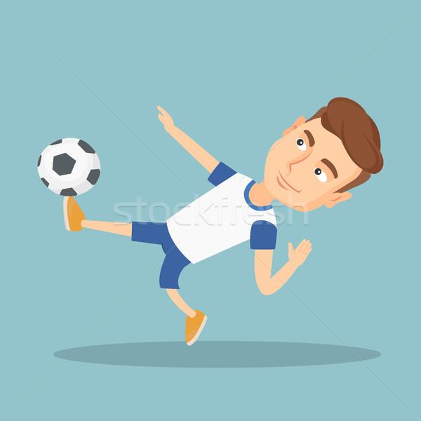 Labdarúgó rúg labda fiatal kaukázusi játék Stock fotó © RAStudio