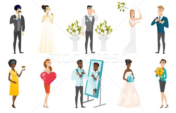 ストックフォト: 花嫁 · 新郎 · ベクトル · イラスト · セット · 結婚式