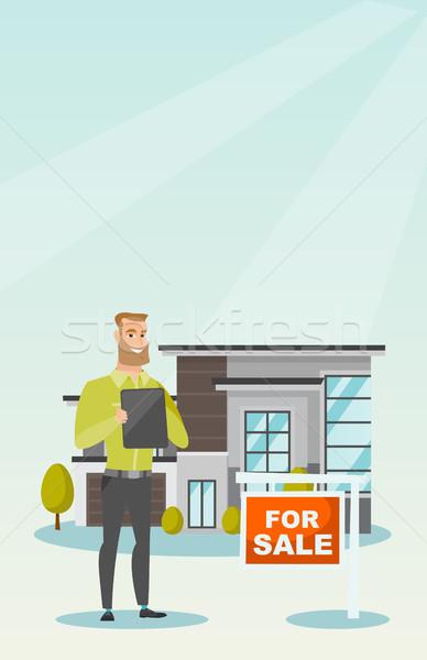Agent immobilier signature maison acheter contrat heureux Photo stock © RAStudio