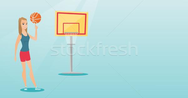 Fiatal kaukázusi kosárlabdázó labda ujj profi Stock fotó © RAStudio