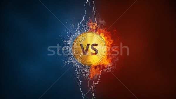 Versus VS sign in fire, water splashes and lightning. Stock photo © RAStudio