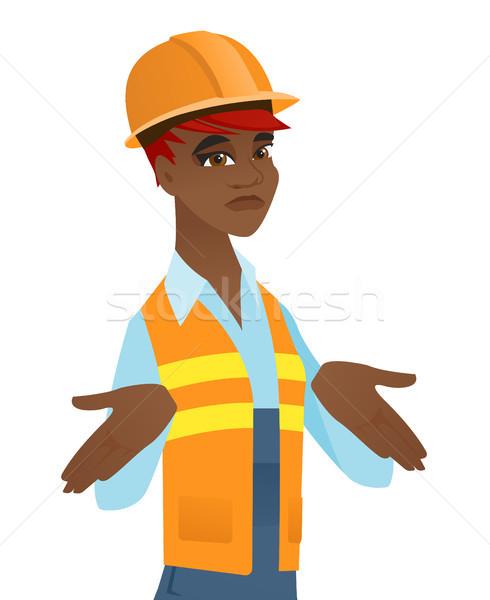 Verwechselt african Builder Schultern Schutzhelm jungen Stock foto © RAStudio