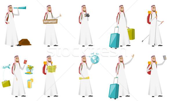 Young muslim traveler man vector illustrations set Stock photo © RAStudio