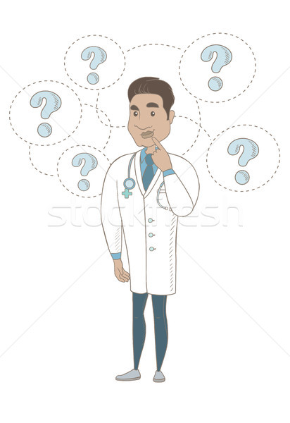 Thinking hispanic doctor with question marks. Stock photo © RAStudio