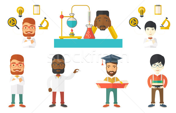 Vector set of student characters. Stock photo © RAStudio