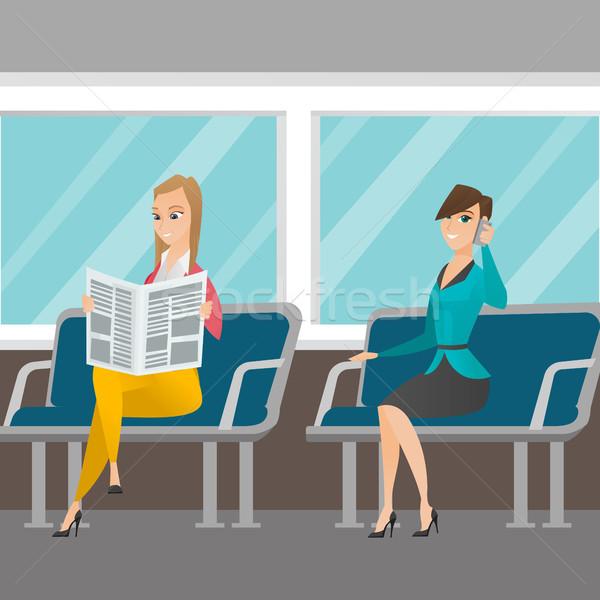白人 女性 公共交通機関 女性 携帯電話 ストックフォト © RAStudio