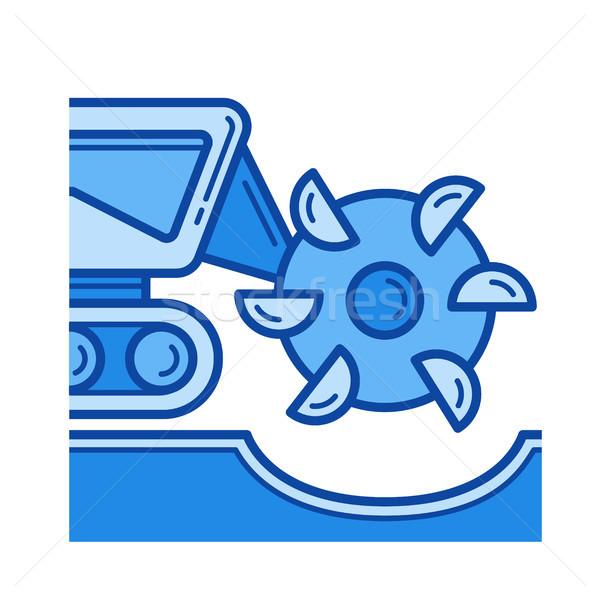 Foto stock: Mineral · excavación · línea · icono · vector · aislado