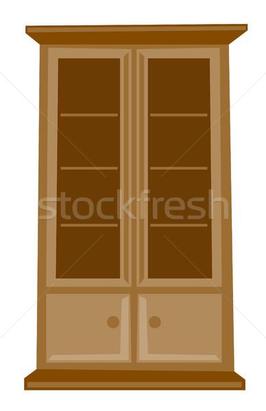 Klasszikus fából készült faliszekrény vektor rajz illusztráció Stock fotó © RAStudio