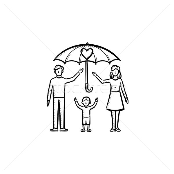 Sigorta aile kroki ikon Stok fotoğraf © RAStudio