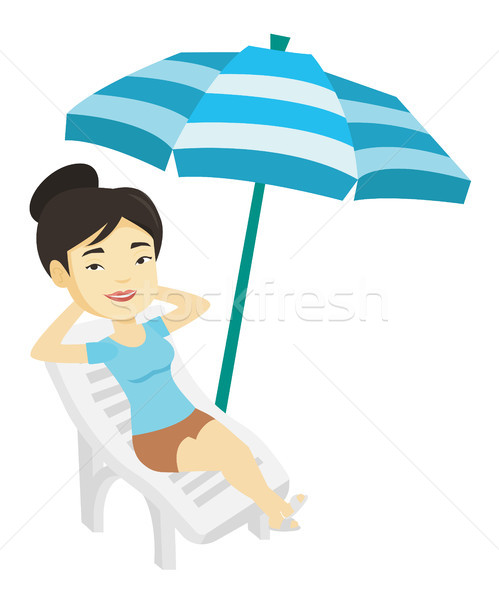 Woman relaxing on beach chair vector illustration. Stock photo © RAStudio