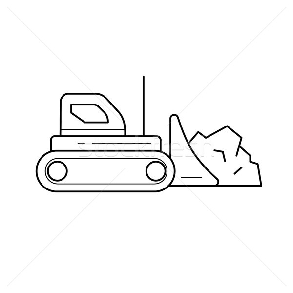 Excavator vector line icon. Stock photo © RAStudio