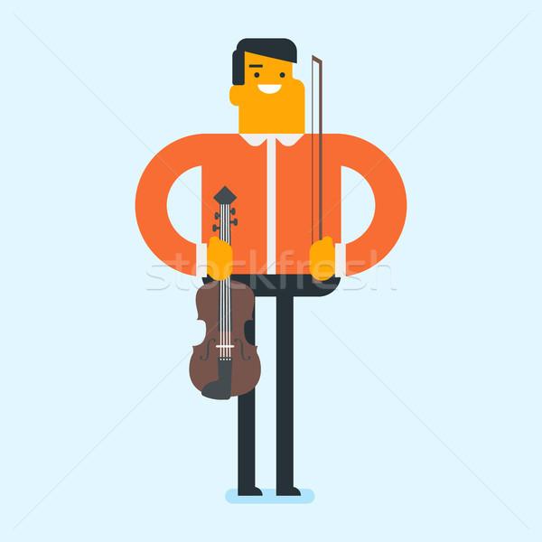 Fiatal kaukázusi fehér férfi játszik hegedű mosolyog Stock fotó © RAStudio