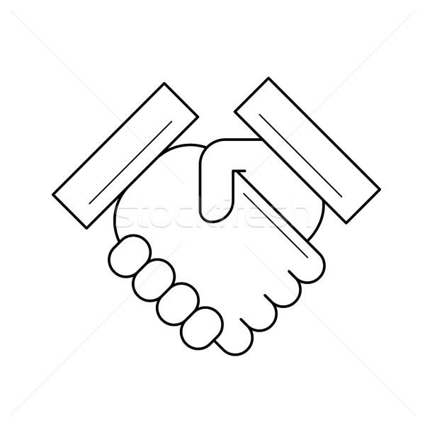 рукопожатие линия икона вектора изолированный белый Сток-фото © RAStudio