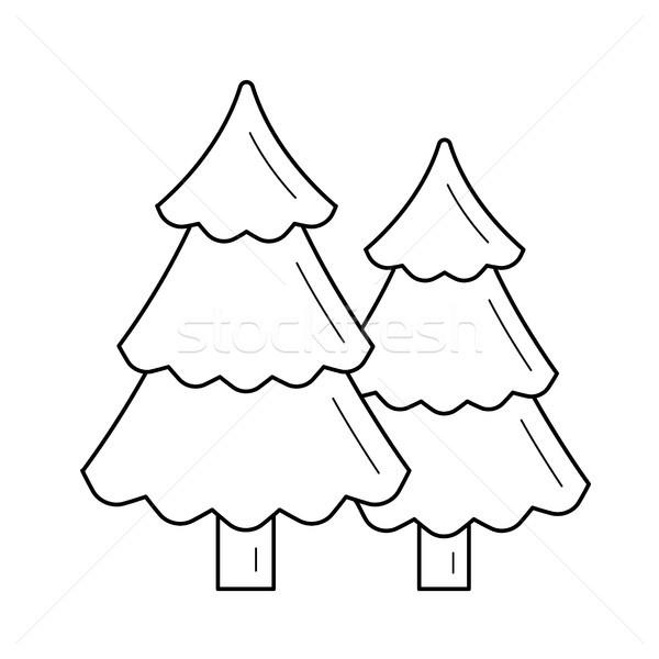 Сток-фото: лес · линия · икона · вектора · изолированный · белый