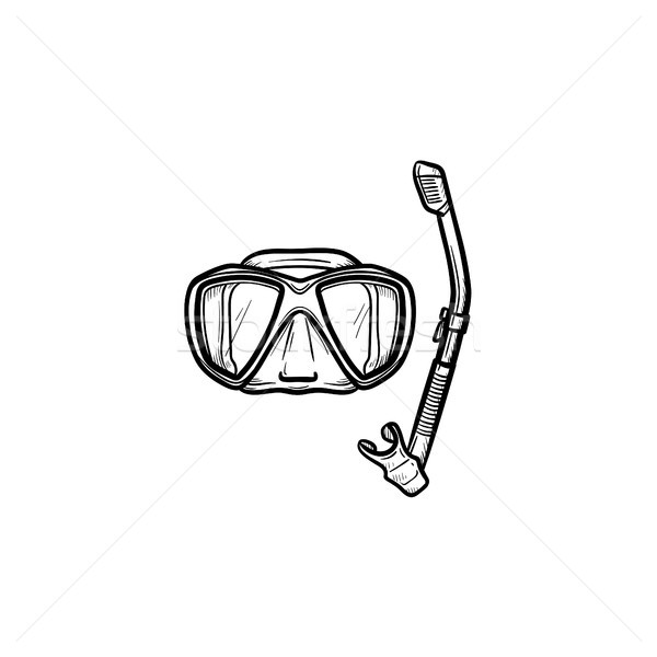 Mask and snorkel for swim in pool hand drawn icon. Stock photo © RAStudio