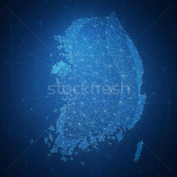 çokgen Güney Kore harita afiş teknoloji Stok fotoğraf © RAStudio