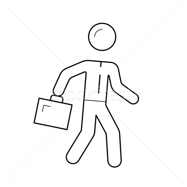 Employer walking with briefcase vector line icon. Stock photo © RAStudio