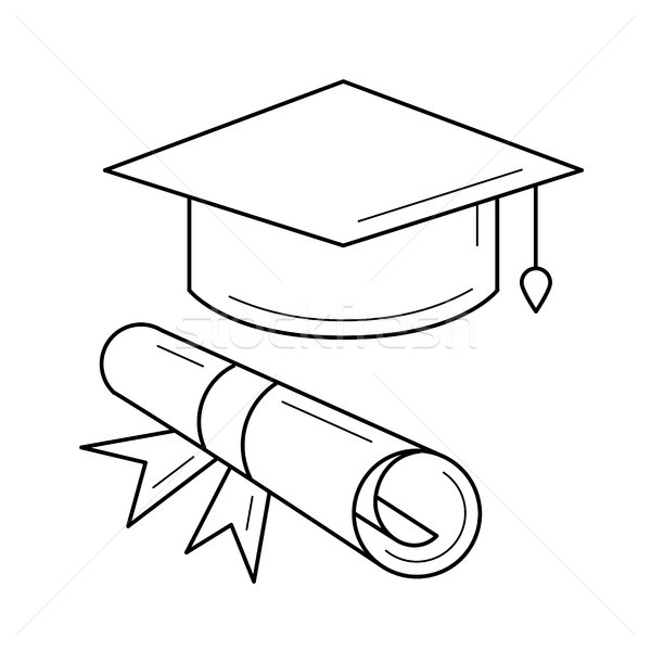 Cap of graduate and certificate degree line icon. Stock photo © RAStudio