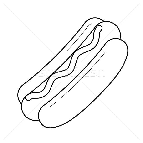 Hotdog vector lijn icon geïsoleerd witte Stockfoto © RAStudio