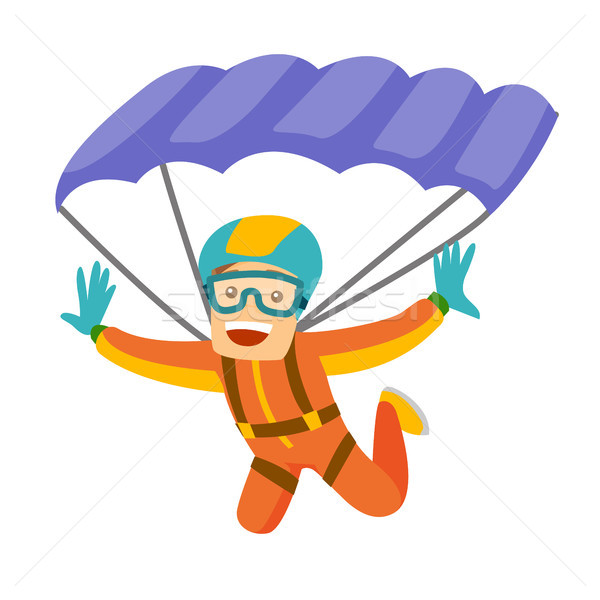 Caucasian white man flying with a parachute. Stock photo © RAStudio