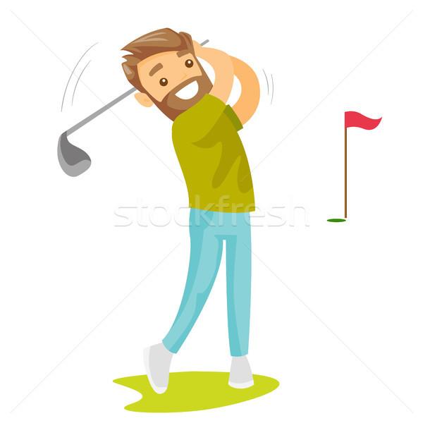 молодые кавказский белый гольфист мяча профессиональных Сток-фото © RAStudio