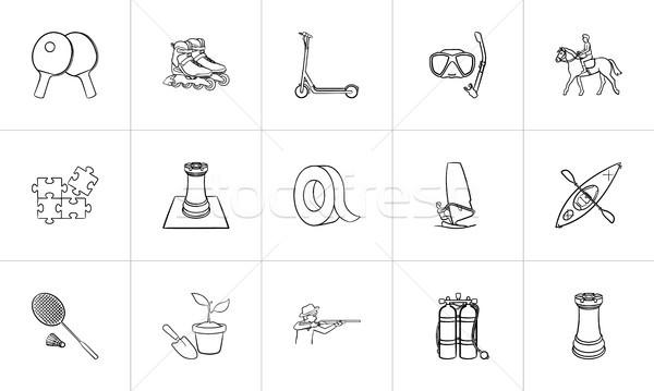 Hobby hand drawn sketch icon set. Stock photo © RAStudio