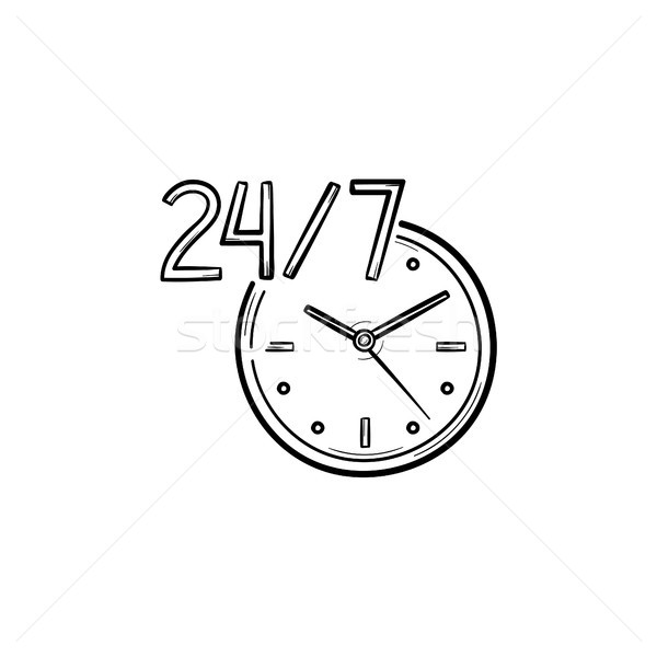 24-7 open service hand drawn outline doodle icon. Stock photo © RAStudio