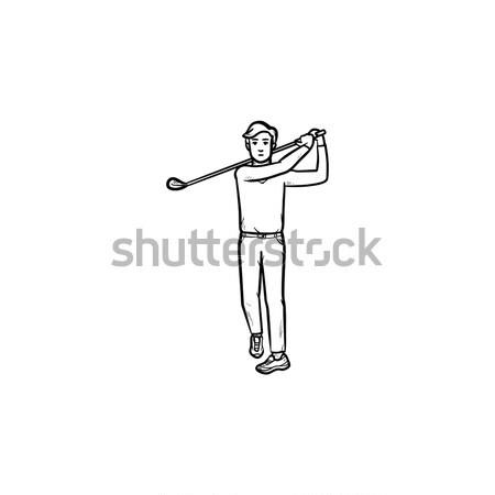 Jogador de golfe rabisco ícone clube Foto stock © RAStudio