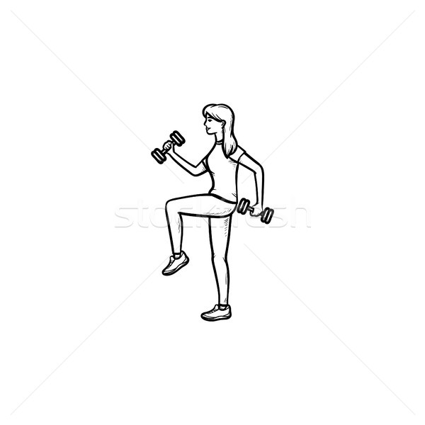 Woman with dumbbells hand drawn outline doodle icon. Stock photo © RAStudio