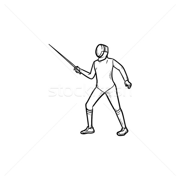 Fencing man hand drawn outline doodle icon. Stock photo © RAStudio