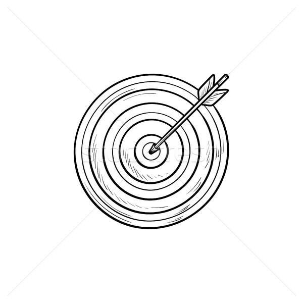 Target with arrow hand drawn outline doodle icon. Stock photo © RAStudio