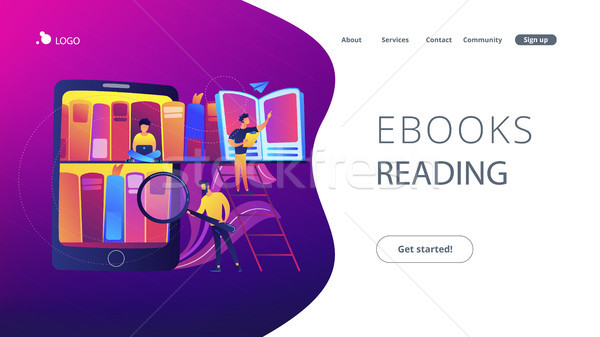 E-library concept vector illustration. Stock photo © RAStudio