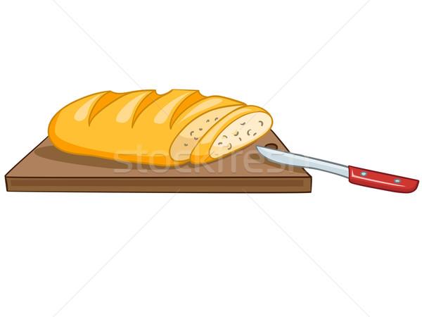 Cartoon продовольствие хлеб ножом белый фон Сток-фото © RAStudio