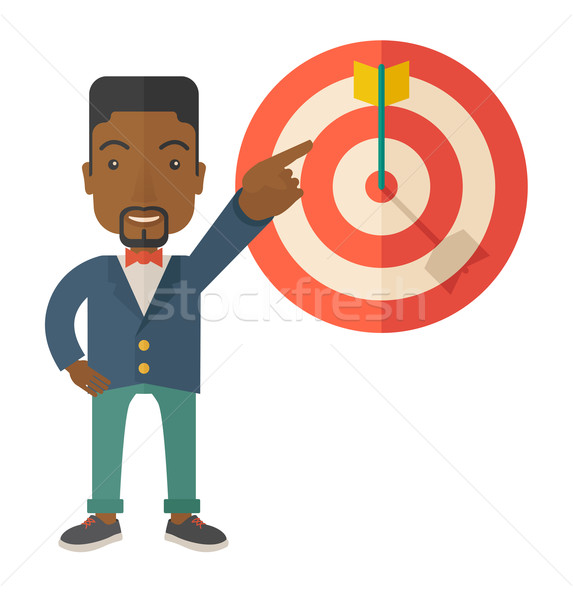 Black salesman hit the sales target. Stock photo © RAStudio