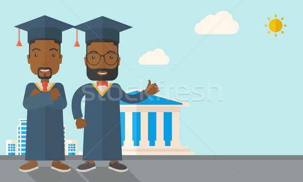 Two black men wearing graduation cap. Stock photo © RAStudio