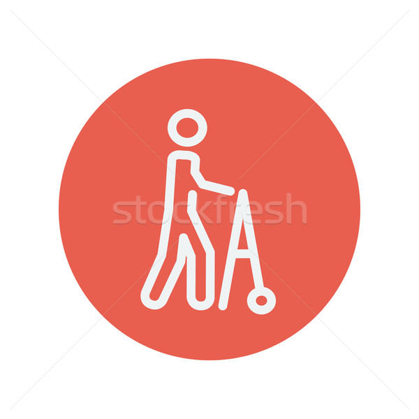 Disabled person with walker thin line icon Stock photo © RAStudio